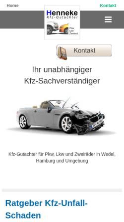 Vorschau der mobilen Webseite www.kfz-gutachter-hamburg.de, Kfz-Gutachter Henneke