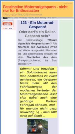 Vorschau der mobilen Webseite 123-motorradgespanne.de, 123-MotorradGespanne München