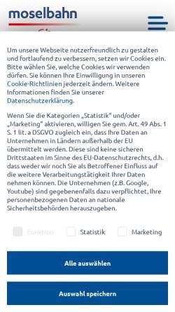 Vorschau der mobilen Webseite www.moselbahn.de, Moselbahn-Gesellschaft mbH