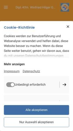 Vorschau der mobilen Webseite www.hilgergmbh.com, Dipl.-Kfm. Winfried Hilger GmbH