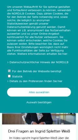 Vorschau der mobilen Webseite www.bremerlandesbank.de, Bremer Landesbank Kreditanstalt Oldenburg