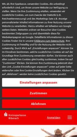 Vorschau der mobilen Webseite www.ksk-bc.de, Kreissparkasse Biberach