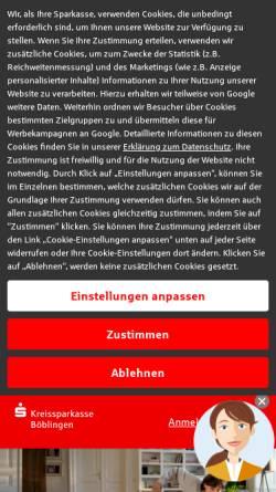 Vorschau der mobilen Webseite www.kskbb.de, Kreissparkasse Boeblingen