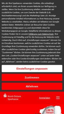 Vorschau der mobilen Webseite www.nospa.de, Nord-Ostsee Sparkasse