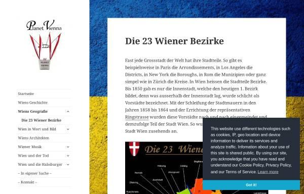 Vorschau von www.planet-vienna.com, Planet Vienna - Die 23 Wiener Bezirke