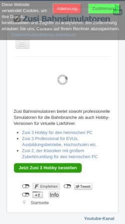 Vorschau der mobilen Webseite www.zusi.de, Zusi - Der Zugsimulator