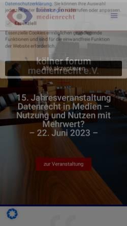 Vorschau der mobilen Webseite www.koelner-forum.de, Kölner Forum