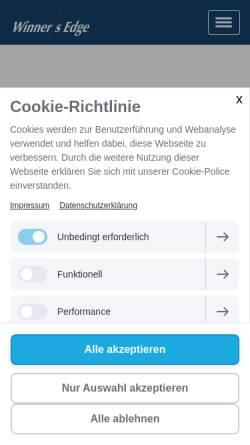 Vorschau der mobilen Webseite www.winners-edge.de, Winner's Edge Gesellschaft für Führungs-, Strategie- und Verkaufscoaching mbH