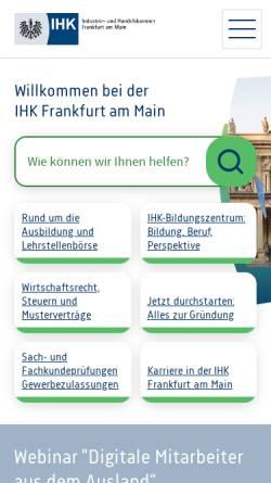 Vorschau der mobilen Webseite www.frankfurt-main.ihk.de, IHK - Frankfurt am Main