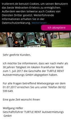 Vorschau der mobilen Webseite www.turtlerent.de, Turtle Rent Autovermietung GmbH