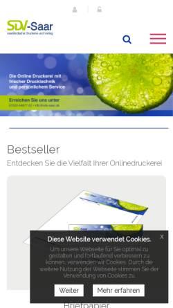 Vorschau der mobilen Webseite www.sdv-saar.de, SDV Saarbrücker Druckerei und Verlag GmbH
