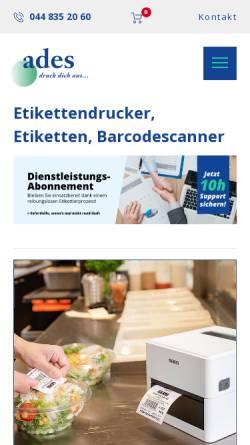 Vorschau der mobilen Webseite www.ades.ch, Ades