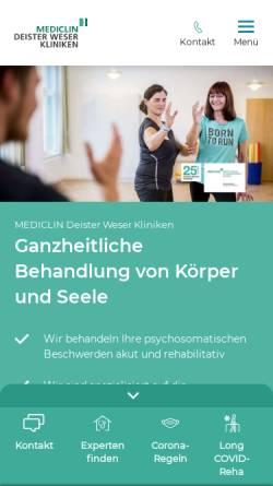 Vorschau der mobilen Webseite www.deister-weser-kliniken.de, Deister Weser Kliniken Bad Münder