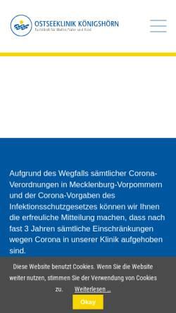 Vorschau der mobilen Webseite www.mutter-kind.com, Ostseeklinik Königshörn (Rügen)
