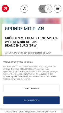 Vorschau der mobilen Webseite www.b-p-w.de, Businessplan-Wettbewerb Berlin-Brandenburg