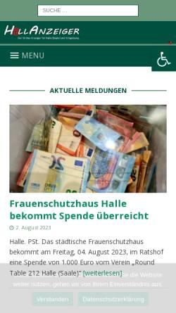 Vorschau der mobilen Webseite www.wag-halle.de, Werbeagentur Girod