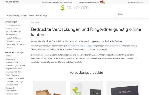 Vorschau von www.schlender-ringmappen.de, Schlender GmbH & Co KG