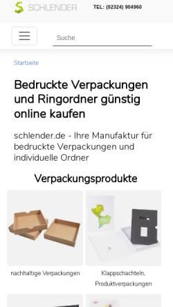 Vorschau der mobilen Webseite www.schlender-ringmappen.de, Schlender GmbH & Co KG