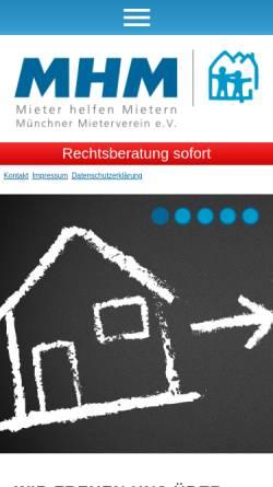 Vorschau der mobilen Webseite www.mhmmuenchen.de, Mieter helfen Mietern München