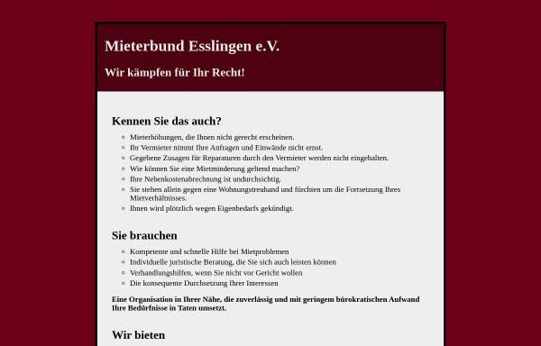 Vorschau von www.mieterschutz-es.de, Mieterbund Esslingen e.V.