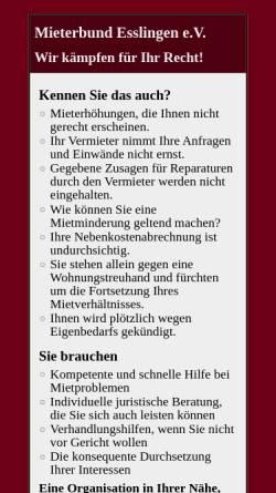 Vorschau der mobilen Webseite www.mieterschutz-es.de, Mieterbund Esslingen e.V.