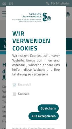Vorschau der mobilen Webseite www.saev.de, Sächsische Ärzteversorgung