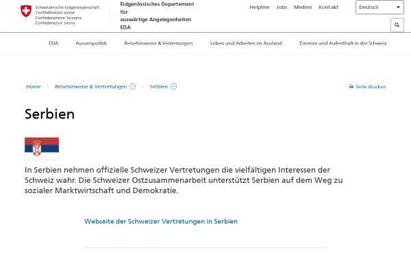 Vorschau von www.eda.admin.ch, Reisehinweise Serbien