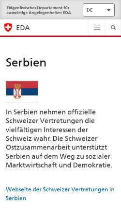 Vorschau der mobilen Webseite www.eda.admin.ch, Reisehinweise Serbien