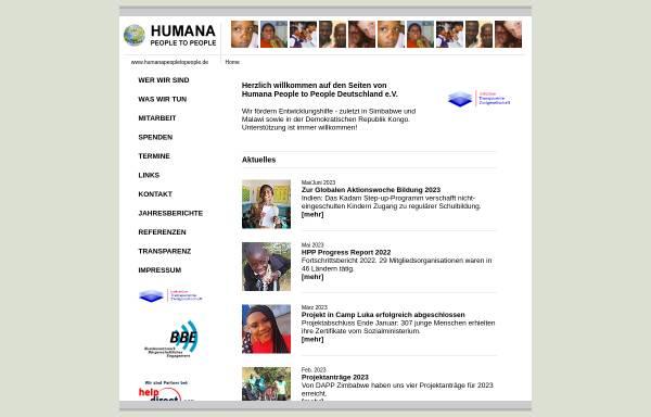 Vorschau von www.humanapeopletopeople.de, HUMANA People to People Deutschland e.V.