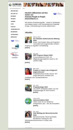 Vorschau der mobilen Webseite www.humanapeopletopeople.de, HUMANA People to People Deutschland e.V.