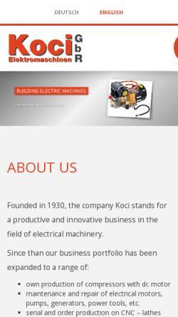 Vorschau der mobilen Webseite www.elektromaschinen-koci.de, Elektromaschinen Koci
