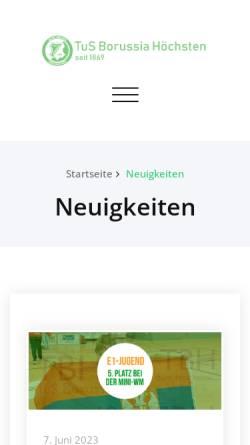 Vorschau der mobilen Webseite www.borussiahoechsten.de, TuS Borussia Höchsten 1869 e.V.