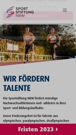 Vorschau der mobilen Webseite www.sportstiftung-nrw.de, Sportstiftung NRW