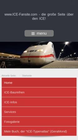 Vorschau der mobilen Webseite www.ice-fansite.com, ICE-Fansite.de