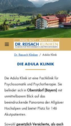 Vorschau der mobilen Webseite www.dr-reisach-kliniken.de, Adula Klinik Oberstdorf