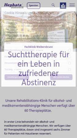 Vorschau der mobilen Webseite www.hephata.de, Fachklinik und Suchtklinik Weibersbrunn Hephata e.V.