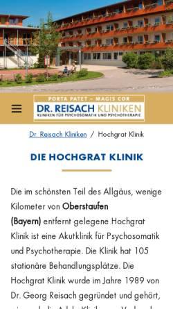 Vorschau der mobilen Webseite www.dr-reisach-kliniken.de, Hochgrat Klinik Wolfsried