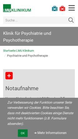 Vorschau der mobilen Webseite psywifo.klinikum.uni-muenchen.de, Klinik für Psychiatrie und Psychotherapie