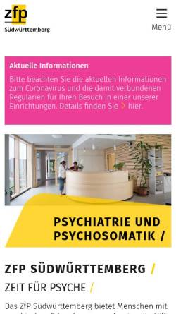 Vorschau der mobilen Webseite www.zfp-web.de, Südwürttembergische Zentren für Psychiatrie