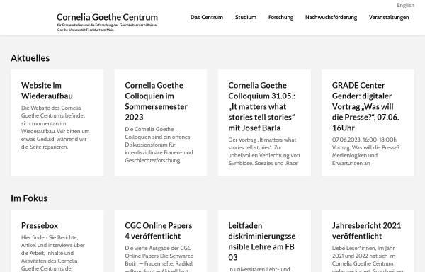 Vorschau von www.cgc.uni-frankfurt.de, Cornelia Goethe Centrum für Frauenstudien und die Erforschung der Geschlechterverhältnisse