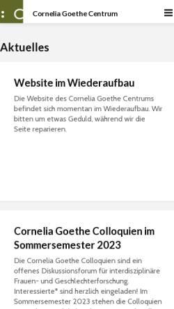 Vorschau der mobilen Webseite www.cgc.uni-frankfurt.de, Cornelia Goethe Centrum für Frauenstudien und die Erforschung der Geschlechterverhältnisse