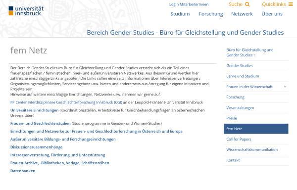 Vorschau von www.uibk.ac.at, fem-Seiten der Universität Innsbruck