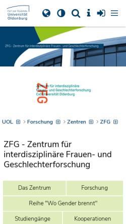 Vorschau der mobilen Webseite www.uni-oldenburg.de, Frauen- und Geschlechterforschung
