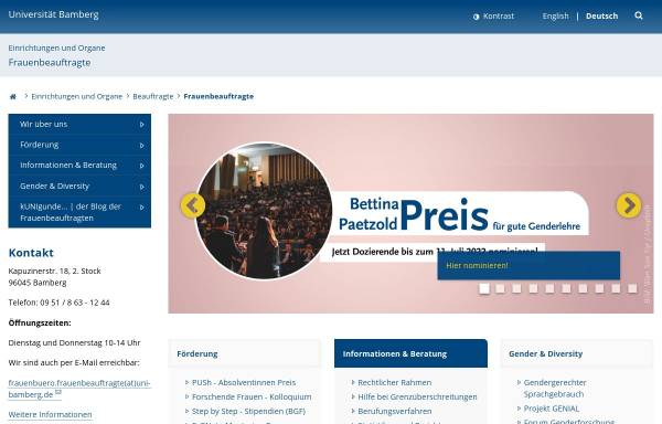 Vorschau von www.uni-bamberg.de, Gender- und Frauenforschung Uni Bamberg