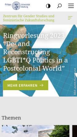 Vorschau der mobilen Webseite www.uni-marburg.de, Genderzukunft