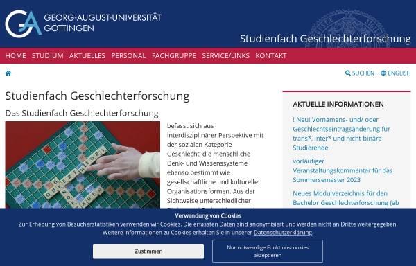 Vorschau von www.geschlechterforschung.uni-goettingen.de, Studiengang Geschlechterforschung