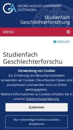 Vorschau der mobilen Webseite www.geschlechterforschung.uni-goettingen.de, Studiengang Geschlechterforschung