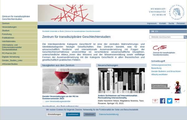 Vorschau von www.gender.hu-berlin.de, Zentrum für transdisziplinäre Geschlechterstudien - HU Berlin