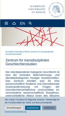 Vorschau der mobilen Webseite www.gender.hu-berlin.de, Zentrum für transdisziplinäre Geschlechterstudien - HU Berlin