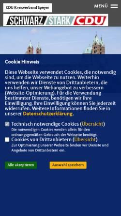 Vorschau der mobilen Webseite www.cdu-speyer.de, CDU-Kreisverband Speyer